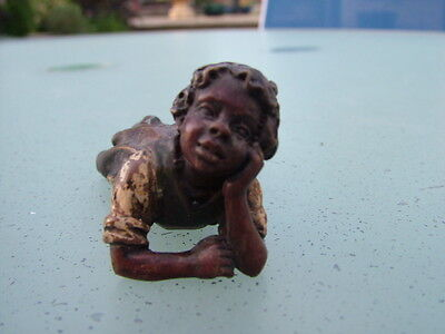 Lovely Bergman cold painted bronze of reclining child