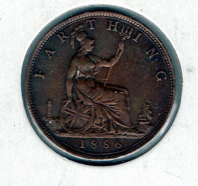 1886 Great Britain Farthing. Very nice looking coin.Includes Free shipping in US