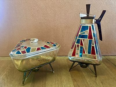 Rare Mid Century Modern EAMES ERA Stained Glass Geometric Coffee Carafe & Dish