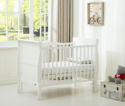 MCC Solid Wooden Baby Cotbed Sleigh Cot bed Toddler Bed Water Repellent Mattress