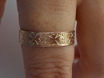 Very Old Gold Decorative Band Ring  Metal Detecting Find.
