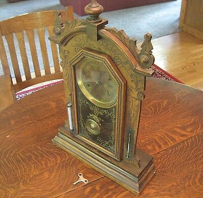 Antique Ornate Wooden Mantle or Shelf Clock with Brass Pendulum and Thermometer