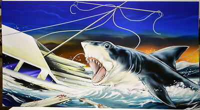JAWS - NEED A BIGGER BOAT PANORAMIC Print HAND SIGNED by Damon Bowie w COA