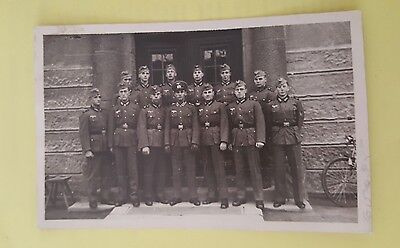 Original ww2 german photo group of german army soldiers outside a building