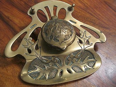 Gescuhtz ? brass art nouveau inkwell with liner