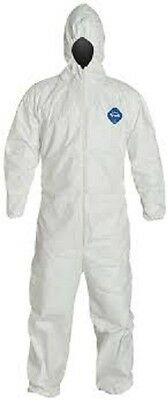 25 units DuPont Disposable Elastic White Tyvek Coverall Suit MEDIUM Size