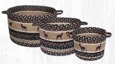 Capitol Earth Rugs Deer Silhouette Country Jute Braided Utility Baskets UBP-518