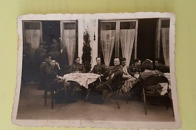 original ww2 german photo group at a french cafe
