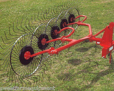 New Farm King / Rossi 5 Wheel Hay Rake for 3 Point Hitch, Rakes 10 Ft.