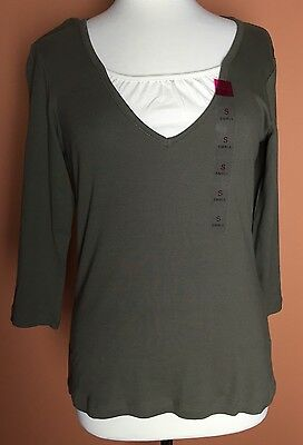 Gloria Vanderbilt NWT 3/4 Sleeve Olive Green Casual Blouse Top Size S