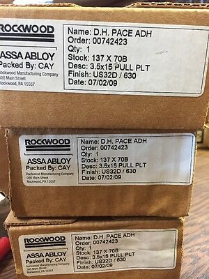 NEW ROCKWOOD/ASSA ABLOY  Push / Pull  Plates US32D Stainless Steel