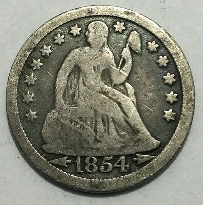 1854 10C Arrows Liberty Seated Dime-VG
