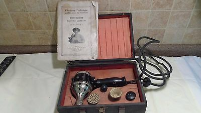 Antique 1917 White Cross Electric Female Vibrator With Hard Case & instructions