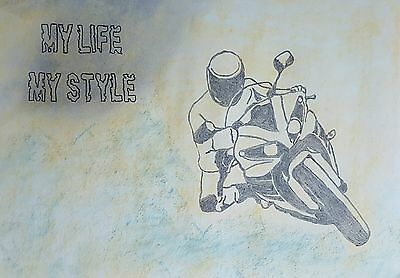 Charcoal Drawing of a Motorcyclist/ Biker: Original Art