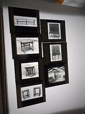 Magic Lantern Glass Slides Antique Furniture Tables Chest of Drawers 7 Piece Lot