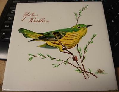 Serviing Trivet Tile Yellow Warbler Bird Screencraft Cape Cod 6 inch by 6 inch