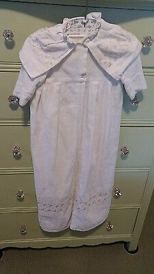 Antique Vintage Child's Coat Dress Christening Outfit - Embroidery/Eyelet