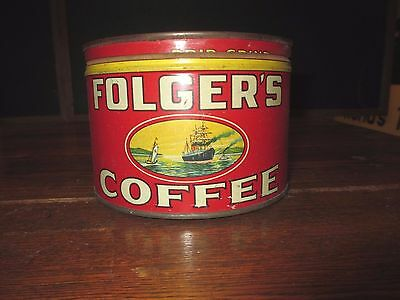 Very Rare Older Folgers Coffee Tin Can , Nice **free Shipping**