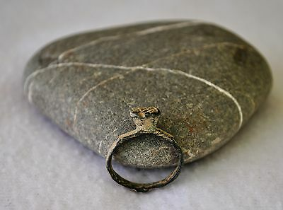 """Unusual Medieval Bronze Ring, """"engagement"""" ring Bezel, - Artifact ~13-15th C."""