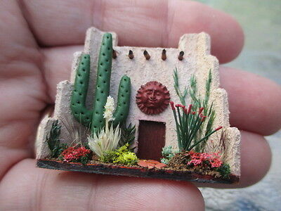"Dollhouse Miniatures ~ 1/4"" Tiny Adobe Porch Display w/Cactus ~ Native American"