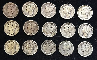 Lot of 15 Different Mercury Dimes 90% Silver - Free Shipping