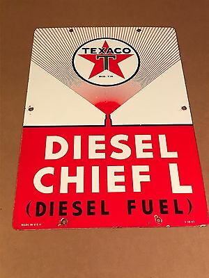 Vintage Texaco Diesel Chief L fuel sign pump plate gas oil porcelain