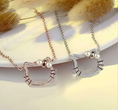 8356b5a6d *Hello Kitty* Cat Kitten 925 Sterling Silver 2.0 Cts CZ Set: Necklace &