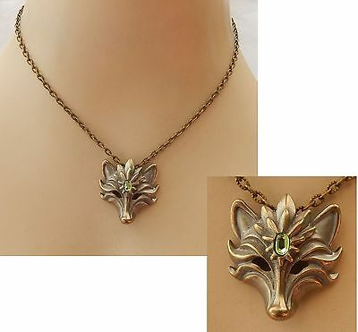 Gold Wolf Pendant Necklace Jewelry Handmade NEW Adjustable Chain Accessories