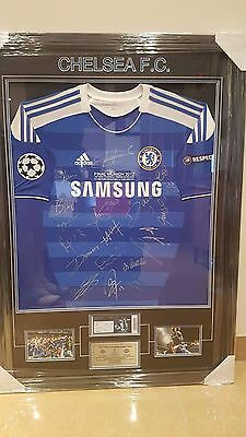 Chelsea Champions League 2012 Signed Framed Football Jersey Drogba Lampard