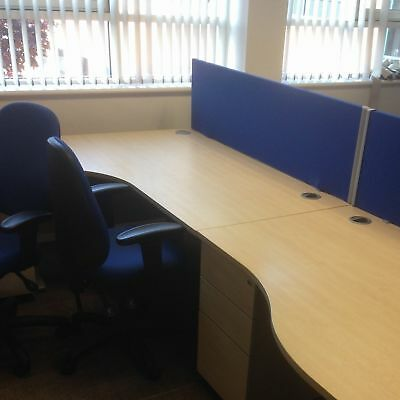 Office Commercial Grade - Blue desk partition for the rear of a desk with clamps