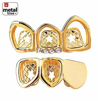 14K Gold Plated Open Grillz Plain Right Side 3 Teeth Top & Bottom LS30R 3F G
