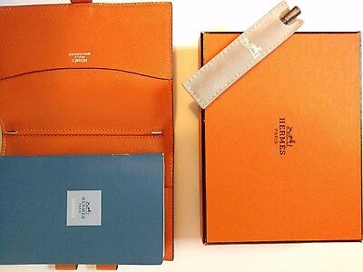 2003 VINTAGE Leather Hermes Orange Address Book, Stirling Silver Pen & Closure