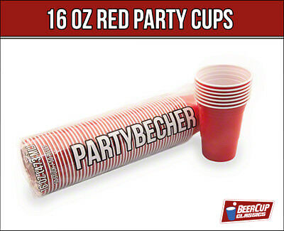 Red BeerCup's 16 Oz  Rote Party Becher Beer Pong Cups - 100 Becher -