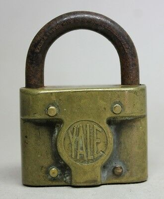 Antique Vintage PADLOCK Solid Brass YALE & TOWNE MFG. CO. STAMFORD CONN. USA