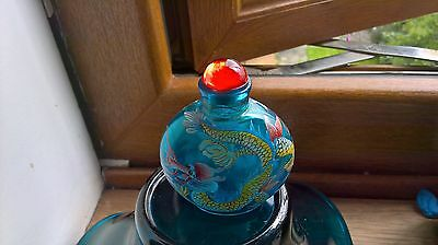 Beautifully painted Chinese dragon   snuff bottle signed
