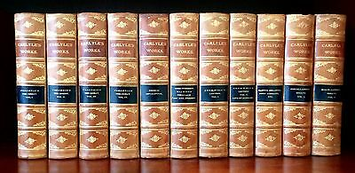 WORKS OF THOMAS CARLYLE.  11 Volume Set.  Bound in Calf Leather