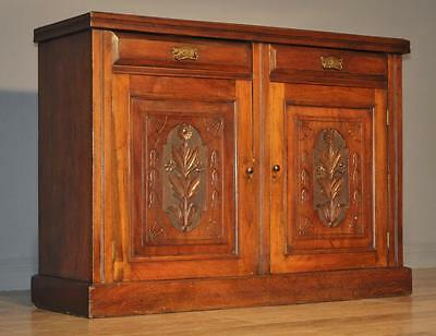 Attractive Antique Victorian Carved Walnut Sideboard Cabinet, Drawers & Cupboard