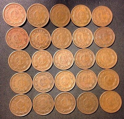Old Mexico Coin Lot - 1936-1946 - CENTAVO - 25 Excellent Coins - Lot #M22