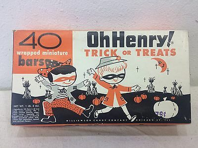 OH HENRY! HALLOWEEN CANDY BOX  Trick or Treats Vintage Original Candy Bar