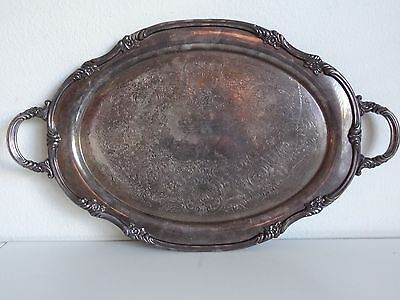 VINTAGE heavy ornate REED & BARTON SILVER PLATED  SERVING TRAY PLATTER