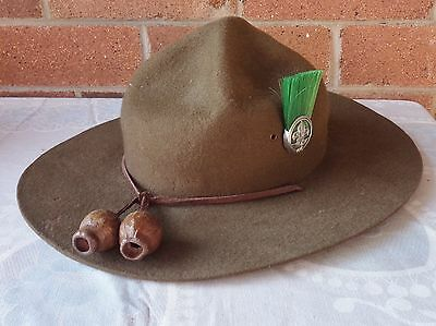 Vintage Boy Scouts Hat With  Badge & Plume