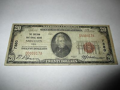 $20 1929 Sheldon Iowa IA National Currency Bank Note Bill #7880 FINE RARE!