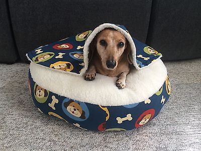 NEW Dachshund Small Dog Bed Snuggle Bed for Burrowing Dogs Happy Puppy Fabric