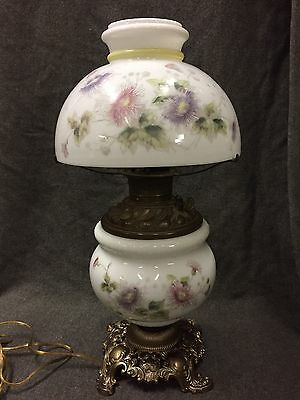 c.1900's Antique Hand-Painted Milk Glass GWTW Gone With The Wind Oil Elec. Lamp