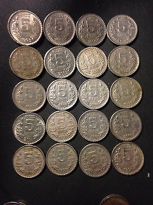 Old India Coin Lot - 5 Rupees - 20 Excellent Coins - Lot #M22