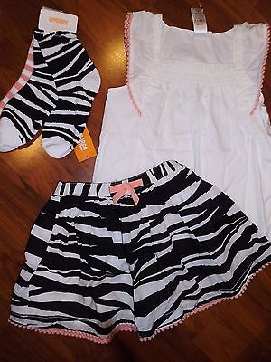 SZ 8 Gymboree 4pc Set ZEBRA Skirt White Top Shirt Outfit Girl New NWT