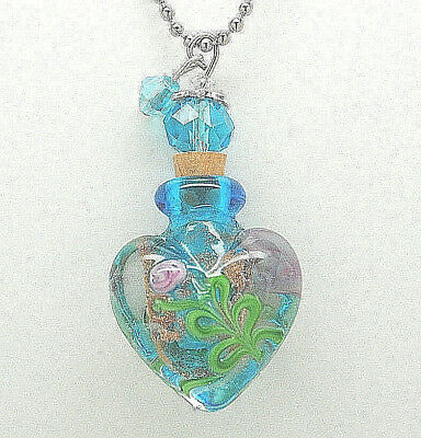 Heart Cremation Jewelry Blue Glass Cremation Urn Necklace Memorial Keepsake Urns