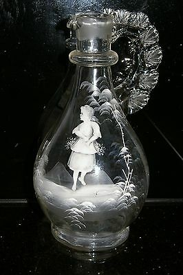 MARY GREGORY PITCHER C1890-1920  Clear glass Decanter bottle Jug