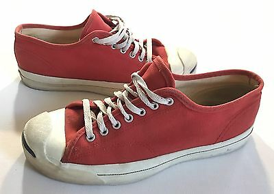 Rare Vintage Converse Jack Purcell Red Canvas Shoes Made In USA Size 9