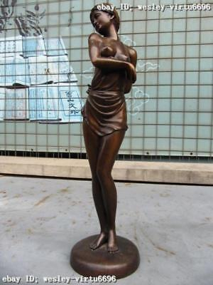 "19""Western Art Pure copper Bronze nude belle Statue"